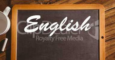 English text on blackboard