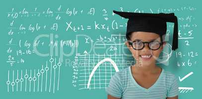 Composite image of portrait of cheerful girl wearing eyeglasses and mortarboard