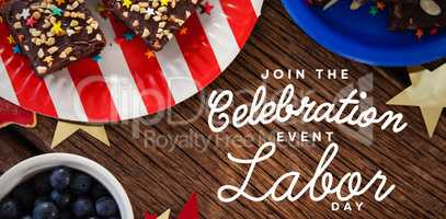 Composite image of digital composite image of join celebratio event labor day text
