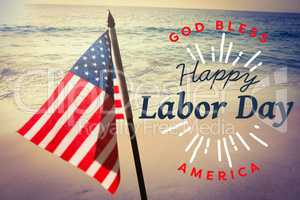 Composite image of digital composite image of happy labor day and god bless america text