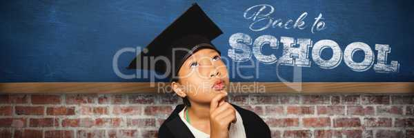 Composite image of thoughtful girl wearing mortarboard with hand on chin