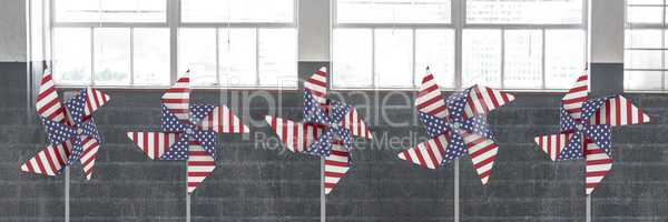 USA wind catchers in front of windows