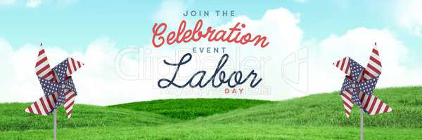 Celebration labor day text and USA wind catchers in front of grass and sky