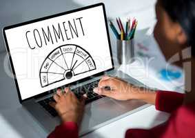 Comment text and ratings graphic on laptop screen with womans hands