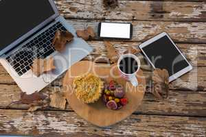 Food with coffee cup on wooden tray by technologies