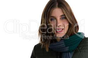 Close up portrait of smiling woman wearing scarf