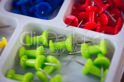Close up of colorful paper pins