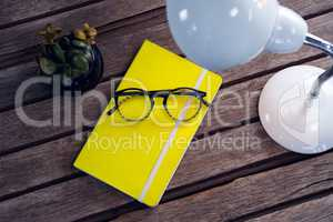 Diary, spectacles, pot plant and table lamp on wooden table