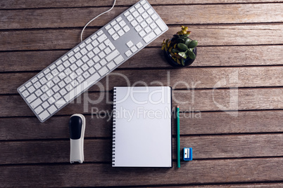 Keyboard, diary, pot plant, stationery and stapler on wooden table