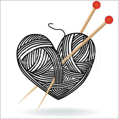 heart wool knitting needle isolates hobby handcraft logo