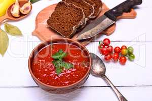 creamy gazpacho soup of red tomato
