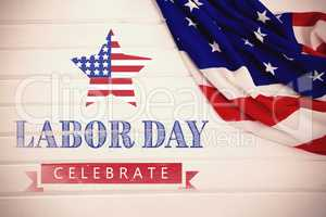Composite image of labor day celebrate text and star shape american flag