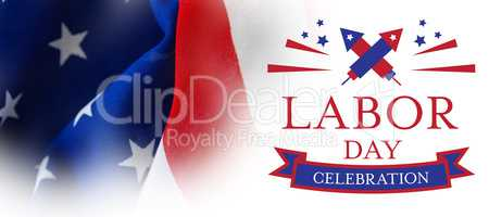 Composite image of digital composite image of labor day celebration text