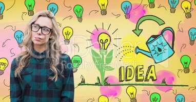 Hipster woman with colorful idea light bulbs graphics
