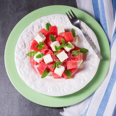 Greek Salad with watermelon, feta and fresh mint