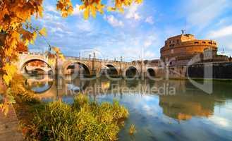 Italian bridge of Saint Angelo in autumn