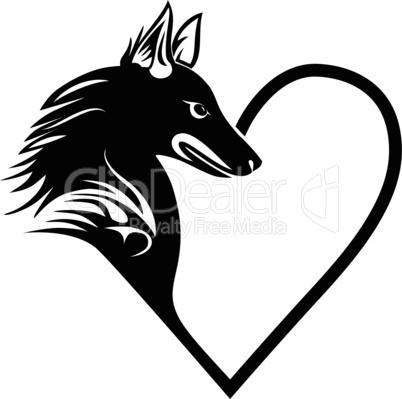 Dog heart love pet tattoo print forT-shirt, pet shop logo, label, decor elements and design products for pets vector illustration