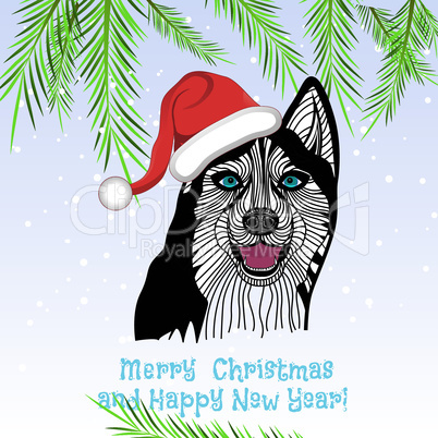 dog pet puppy animal concept of Chinese New Year of the Dog vector and Christmas.
