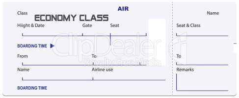 Economy class ticket for airplane