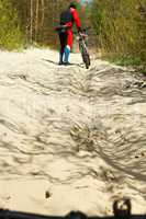 cyclist, forest, walk, travel, adventure, trail, healthy, life, grade, activity
