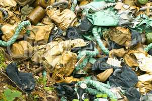 gas mask, garbage, forest, military, rubber, protection, contamination, ecology, respirator, throw away