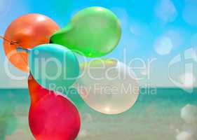 Multicolored balloons flying