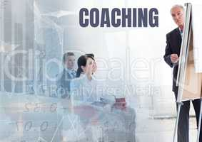 Coaching text and Business economics teacher with class