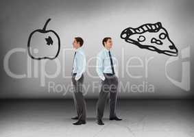 Junk food or healthy food with Businessman looking in opposite directions