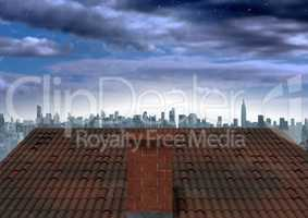 Roof with chimney and evening city