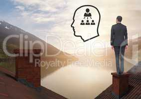 Head icon and people contacts icon and Businessman standing on Roofs with chimney and lake mountain