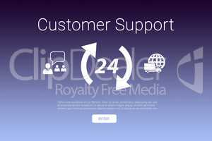 Composite image of icons and customer support text