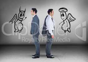 Good and evil graphics with Businessman looking in opposite directions