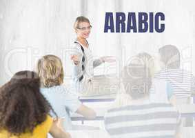 Arabic text and teacher with class