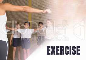 Exercise text and Physical education teacher with class