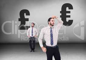 Pound or Euro with Businessman looking in opposite directions