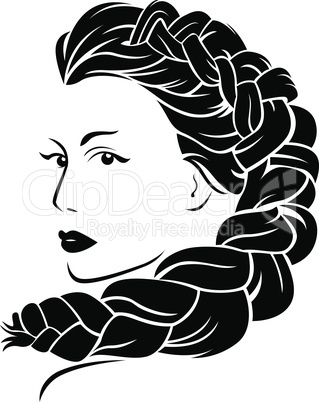 Woman with fluffy braided plait