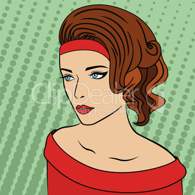 Beautiful lady on retro background