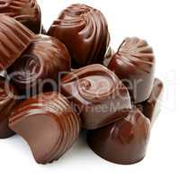 collection chocolate candies isolated on white