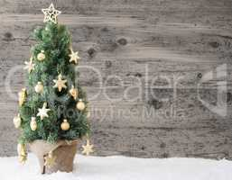 Golden Decorated Christmas Tree, Copy Space