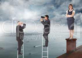 Businessmen on ladders below Businesswoman standing on Roof with chimney and cloudy city port