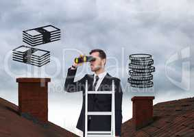 Businessman on property ladder with Roofs and money icons