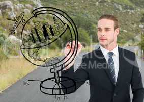 Business man drawing a globe on the road