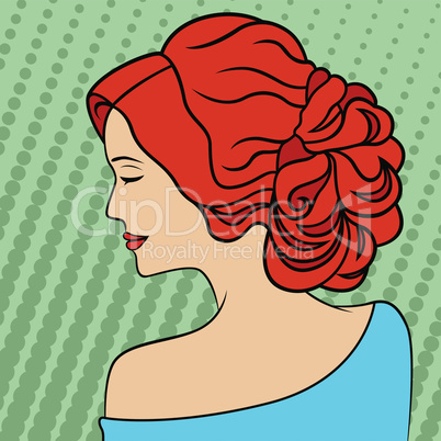 Retro style red-haired women