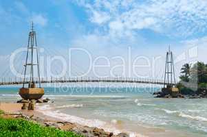Bridge to island with Buddhist temple, Matara, Sri Lanka