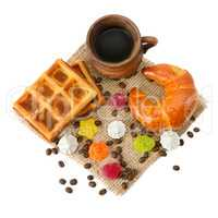 cup of coffee, croissant, waffles and marmalade isolated on whit
