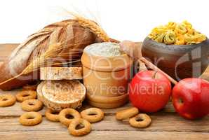 Products made of wheat on table