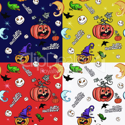 Halloween symbols. Set of seamless pattern