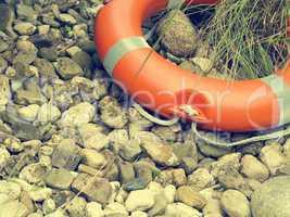 Rescue belt on pebbles