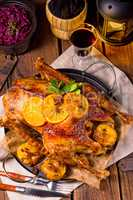 Goose with red cabbage
