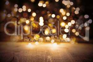 Golden Christmas Lights Background, Party Texture With Wood